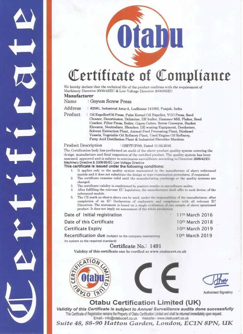 Goyum CE Certificate